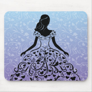 Cinderella Fanciful Dress Silhouette Mouse Pad