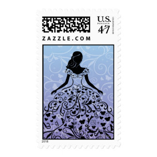 Cinderella Fanciful Dress Silhouette Postage