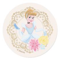 Cinderella    Floral Gold Confetti Classic Round Sticker