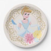 Cinderella   Floral Gold Confetti Paper Plate