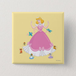 Square Button with Pink Cinderella with Friends design