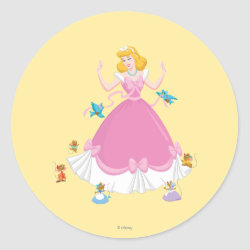 Round Sticker with Pink Cinderella with Friends design
