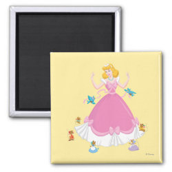 Square Magnet with Pink Cinderella with Friends design