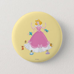Round Button with Pink Cinderella with Friends design
