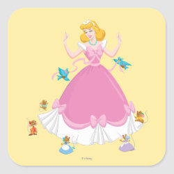 Square Sticker with Pink Cinderella with Friends design