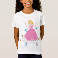 Girls' Fine Jersey T-Shirt with Pink Cinderella with Friends design