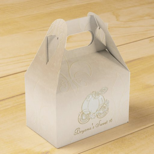 Cinderella Carriage Favor Boxes : Cinderella gold carriage beige party favor boxes zazzle