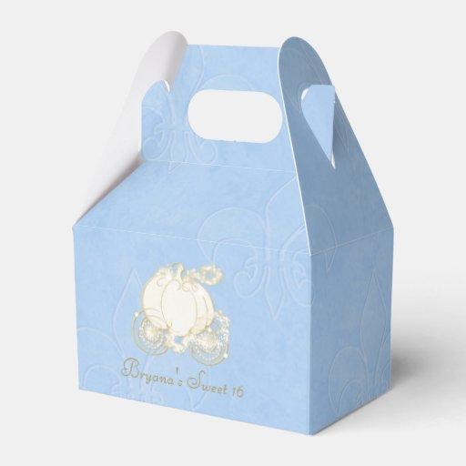 Cinderella Carriage Favor Boxes : Cinderella gold carriage blue party favor boxes zazzle
