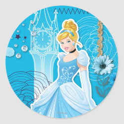 Round Sticker with Mixed Media Cinderella design