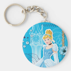 Basic Button Keychain with Mixed Media Cinderella design