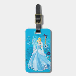Small Luggage Tag with leather strap with Mixed Media Cinderella design