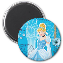 Round Magnet with Mixed Media Cinderella design