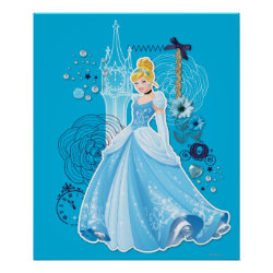 Matte Poster with Mixed Media Cinderella design