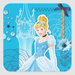 Square Sticker with Mixed Media Cinderella design