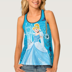 Women's All-Over Print Racerback Tank Top with Mixed Media Cinderella design