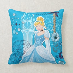 Cotton Throw Pillow with Mixed Media Cinderella design