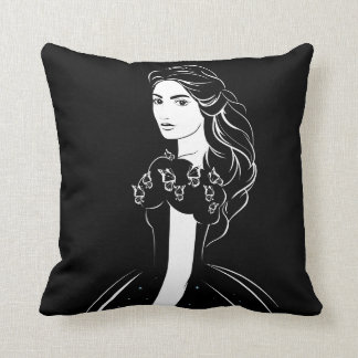 Cinderella Graphic on Black Throw Pillow