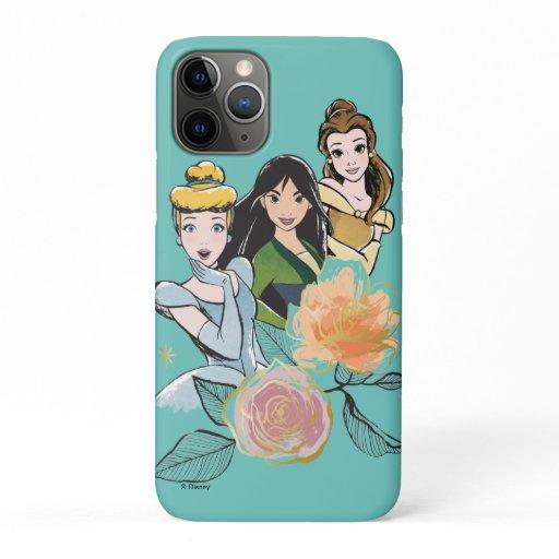 Cinderella, Mulan, & Belle Floral Illustration iPhone 11 Pro Case