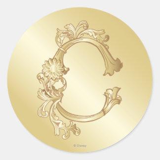 Cinderella Ornate Golden Pattern 2 Classic Round Sticker
