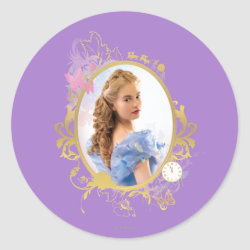 Round Sticker with Iconic: Cinderella Framed design