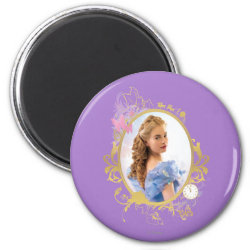 Round Magnet with Iconic: Cinderella Framed design