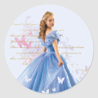 Cinderella Photo With Letter Classic Round Sticker