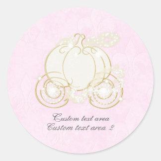 Cinderella Pink & Gold Princess Carriage Favor Classic Round Sticker