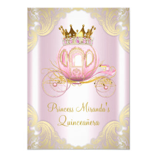Cinderella Pink Gold Princess Quinceanera Card