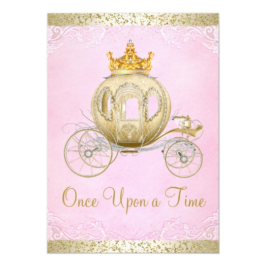 Cinderella Pink Once Upon a Time Princess Birthday Card – Cinderella Birthday Card