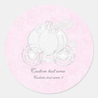 Cinderella Pink & Silver Princess Carriage Favor Classic Round Sticker