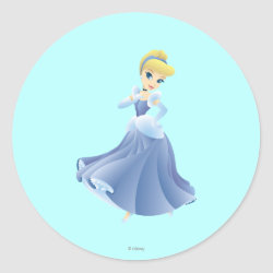 Round Sticker with Cute Cartoon Young Cinderella design