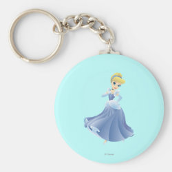Basic Button Keychain with Cute Cartoon Young Cinderella design