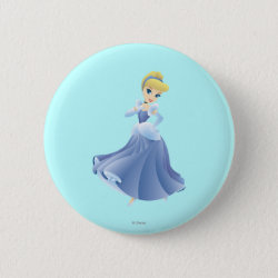 Round Button with Cute Cartoon Young Cinderella design