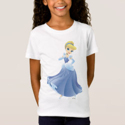 Girls' Fine Jersey T-Shirt with Cute Cartoon Young Cinderella design