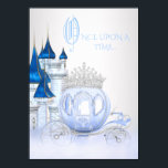 """Cinderella Princess Birthday Card<br><div class=""""desc"""">Cinderella birthday party invitation with blue and silver diamond princess carriage and castle background. This beautiful girls any number Cinderella blue and silver once upon a time princess birthday party invitation is easily customized for your event by simply adding your details in the font style and color, and wording of...</div>"""
