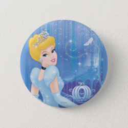 Round Button with Starry Night Princess Cinderella design