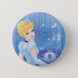 Round Button with Starry Night Princess Cinderella design