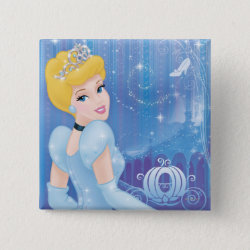 Square Button with Starry Night Princess Cinderella design