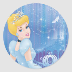 Round Sticker with Starry Night Princess Cinderella design