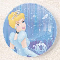 Sandstone Drink Coaster with Starry Night Princess Cinderella design
