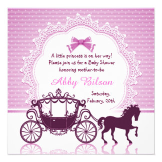 Cinderella Princess Horse Carriage Baby Shower Personalized Announcements