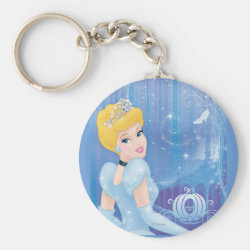 Basic Button Keychain with Starry Night Princess Cinderella design