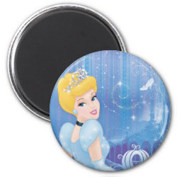 Round Magnet with Starry Night Princess Cinderella design