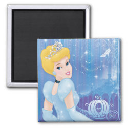 Square Magnet with Starry Night Princess Cinderella design