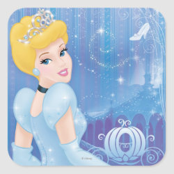 Square Sticker with Starry Night Princess Cinderella design