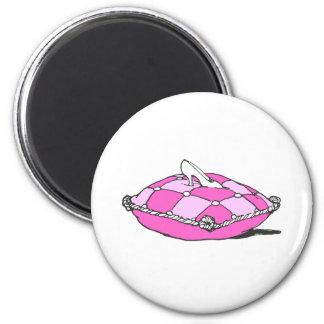 Cinderella Slipper on Pink Pillow Vintage Art Magnet