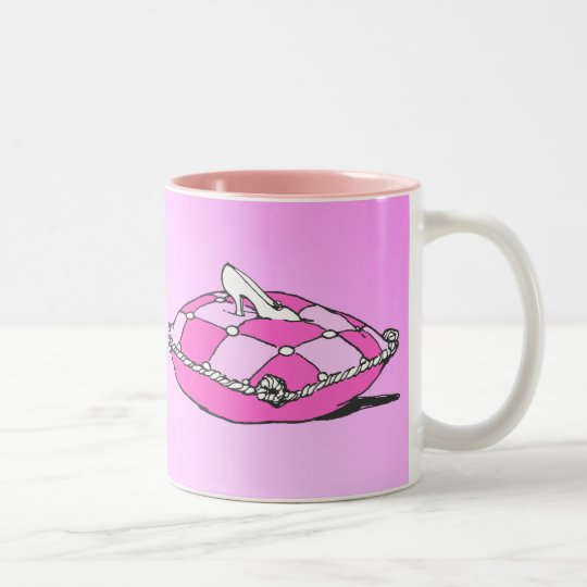 Cinderella Slipper on Pink Pillow Vintage Art Two-Tone Coffee Mug