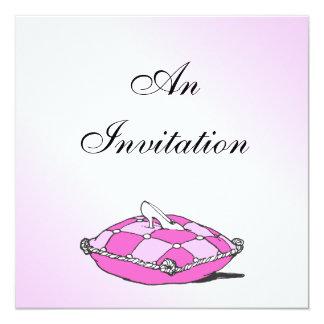 Cinderella Slipper Pink Pillow Bridal Shower Custom Announcements