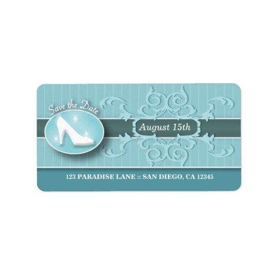 Cinderella Slipper Save the Date address label