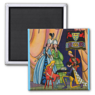 Cinderella, the prince and the glass slipper magnet